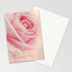 Antique Rose - pastel pink & cream vintage linen textured floral Stationery Cards