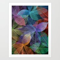 Colored Leaf Pattern 2 Art Print