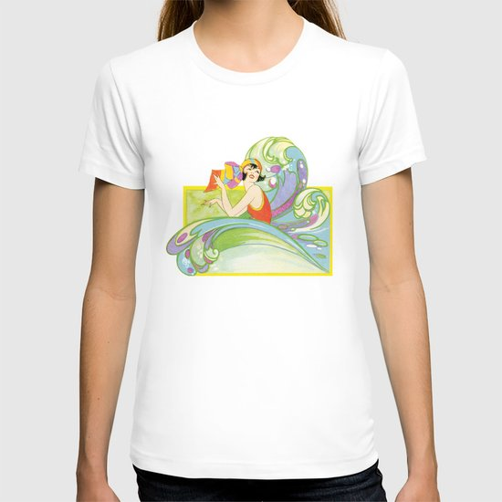Retro Woman In Waves T-shirt