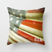 Flag Of USA Throw Pillow