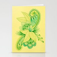 Green Arabesque Stationery Cards