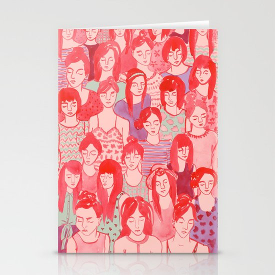 Girl Crowd Stationery Card