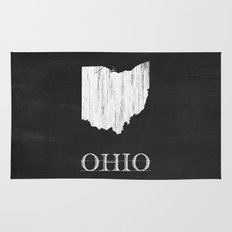 Ohio State Map Chalk Drawing Rug