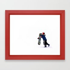 Child Snowboarding Framed Art Print