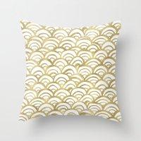 Gold Scallop Throw Pillow