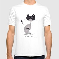 Hello Cat People Mens Fitted Tee White SMALL