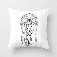 Dreamcatcher Jellyfish - Ink Throw Pillow