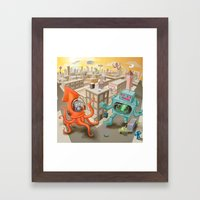 Squid Vs Robot Framed Art Print