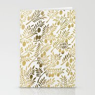 Gold Olive Branches Stationery Cards