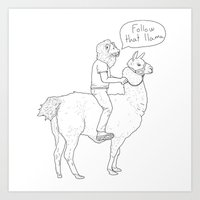 Follow That Llama ! Art Print