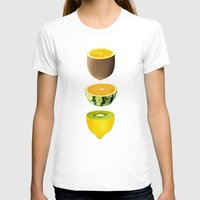 Mixed Fruits Womens Fitted Tee White SMALL