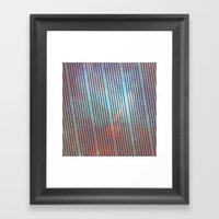 Red stripes on grunge background Framed Art Print