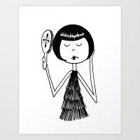 Eloise brushes her hair Art Print