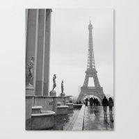 Eiffel Tower On A Snowy … Canvas Print