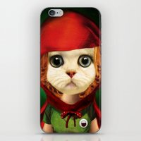 Kitten red riding  iPhone & iPod Skin