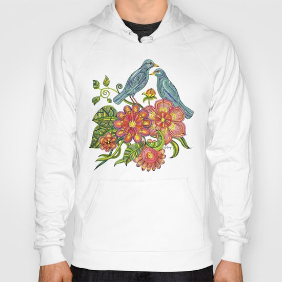 Fly Away With Me - Hand drawn illustration with birds, flowers and leaves. Hoody
