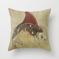 Koi Shark Fin 02 Throw Pillow
