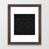 Abstract Collide Outline White on Black Framed Art Print