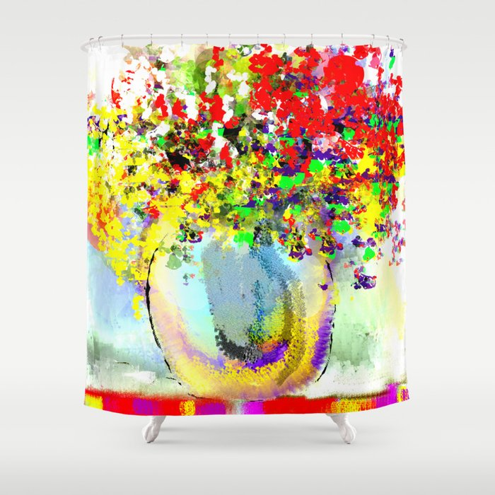 Red Yellow And Purple Flowers On An Indian Blanket Shower Curtain By Jessielee Society6
