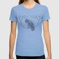 Owl In Tree (Print) Womens Fitted Tee Athletic Blue SMALL