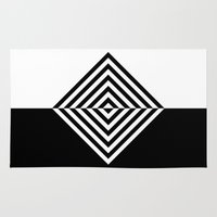 Black and White Concentric Diamonds Rug