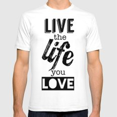 Live Life Love Mens Fitted Tee White SMALL