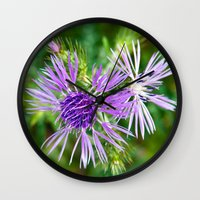 Purple Blossoms of a Thistle Wall Clock