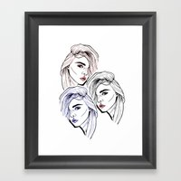 Black White Red Cara Framed Art Print