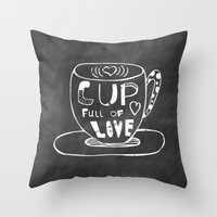 Cup Full Of Love Chalkbo… Throw Pillow
