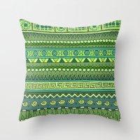 Yzor Pattern 009 Green-b… Throw Pillow