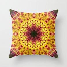 Dahlia 'Jessica' fiery kaleidoscope/mandala Throw Pillow