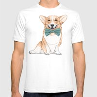 Corgi Dog Mens Fitted Tee White SMALL