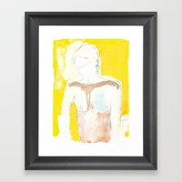 Figure On Gold Framed Art Print
