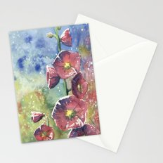Hollyhocks - Pink Flowers Stationery Cards