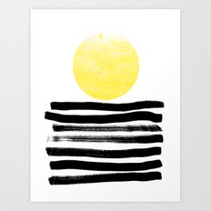 Soleil - sunset sunrise abstract painting art decor dorm college art painting brushstrokes india ink Art Print