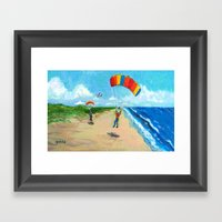 Skydive Beach Landing Framed Art Print