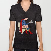 Superhero On Toilet Unisex V-Neck