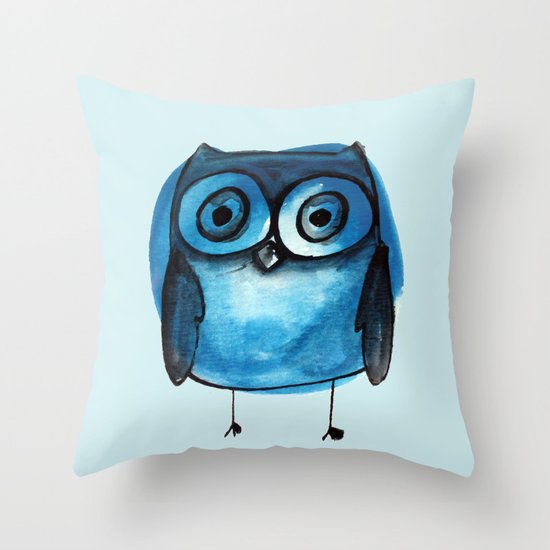 Blue Owl Boy Throw Pillow