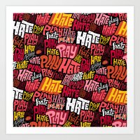 Play/Hate Pattern Art Print