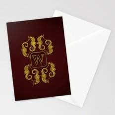 Letter W seahorse monogram Stationery Cards