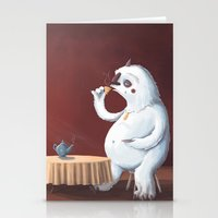 the yeti came for tea Stationery Cards