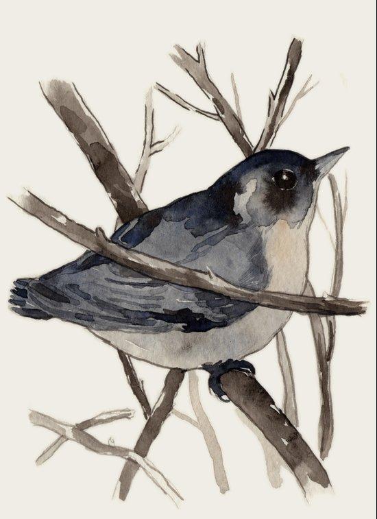 Grey Birdy 2 Art Print