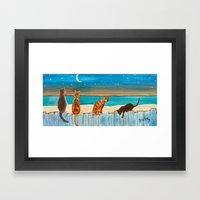 Cats On A Fence Framed Art Print