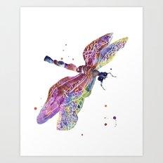 Dragonfly, dragonfly painting, romantic bugs, purple decor, batik effect Art Print