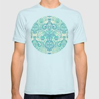Botanical Geometry - nature pattern in blue, mint green & cream Mens Fitted Tee Light Blue SMALL