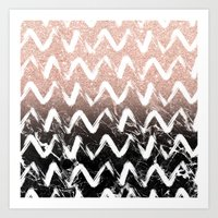 Modern faux rose gold glitter black marble chevron Art Print