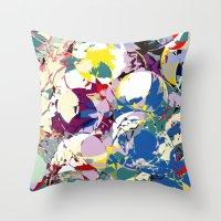 circle color fractures Throw Pillow