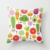 Veggie Friends And Smile… Throw Pillow