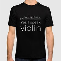Yes, I speak violin Mens Fitted Tee Black SMALL