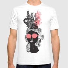 Pink POP SMALL White Mens Fitted Tee